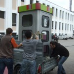 Transporting the booth to our workshop