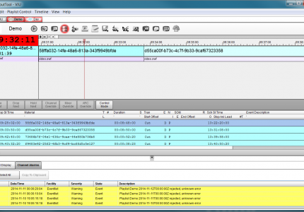 Harmonic's playout tool for monitoring channel events and errors.